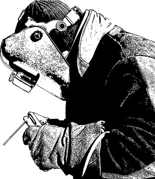 Black and white drawing of a welder at work