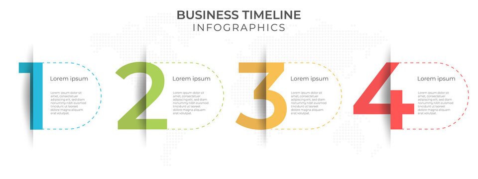 Timeline infographic Number 4 options