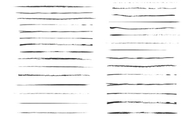 Fototapeta Set of artistic pen brushes.Doodles, ink brushes.Set of vector grunge brushes. Collection of strokes of markers. Set of wavy horizontal lines