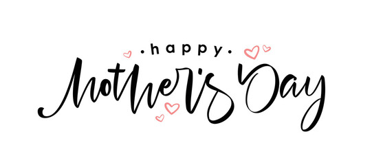Fototapeta Handwritten calligraphic lettering of Happy Mother's Day on white background.