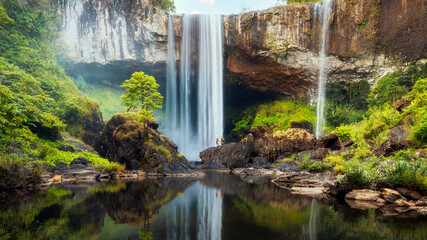 K50 waterfall is inside KonChuRang forest in the misty morning.