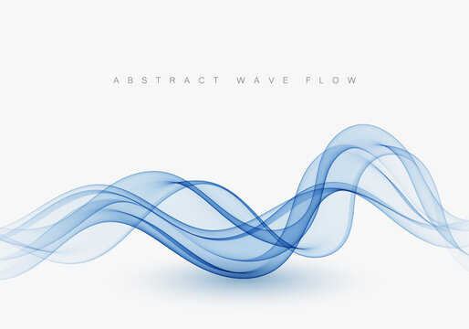 Smooth wavy blue lines in the form of abstract waves