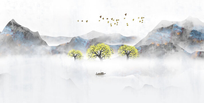 Hand painted Chinese style landscape painting