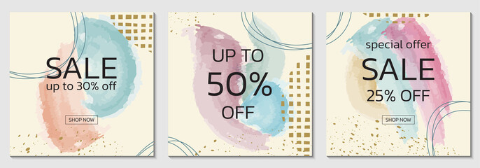 Fototapeta Sale background design set with watercolor abstract shapes and geometric design elements. Brush painted banner, poster or square card collection. Discount frames with pastel colors. Vector.