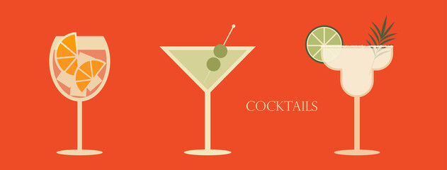 Set of cocktails. An illustration of three cocktails in wine and margarita glass. Vector illustration of summer cocktails.