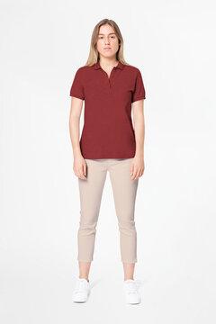 Red polo shirt women's casual business wear