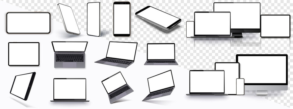 Mock-ups gadgets collection Smartphone,Pc, Tablet, Laptop, blank screen for your design. Side and top, isometric view. Mockup generic device. Template for infographics or presentation ui, ux.