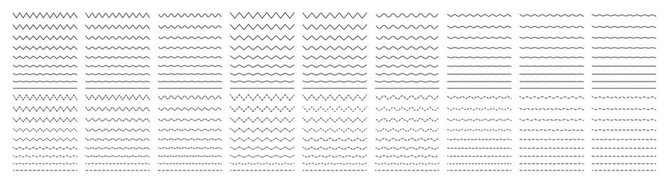 Zigzag wave. Wavy line. Undulate zigzag. Curve and squiggle line. Wiggly pattern for divider, sine and border. Serrated pattern with different amplitude. Parallel graphic zig zag. Vector
