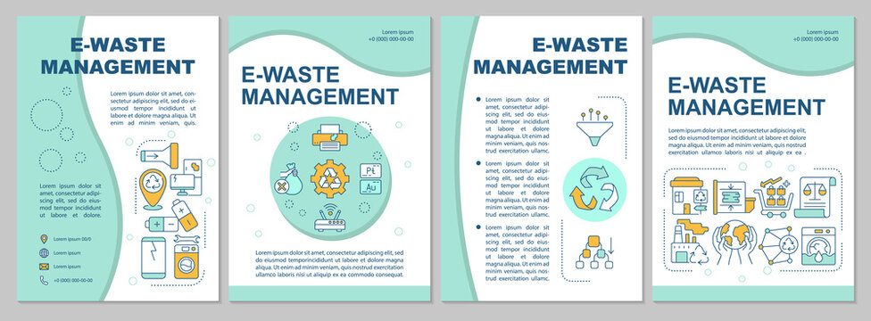 Electronic waste management brochure template. Nature protection. Flyer, booklet, leaflet print, cover design with linear icons. Vector layouts for presentation, annual reports, advertisement pages