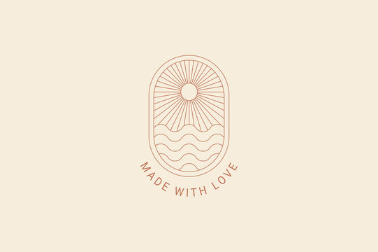 Boho logo template sun, waves, ocean
