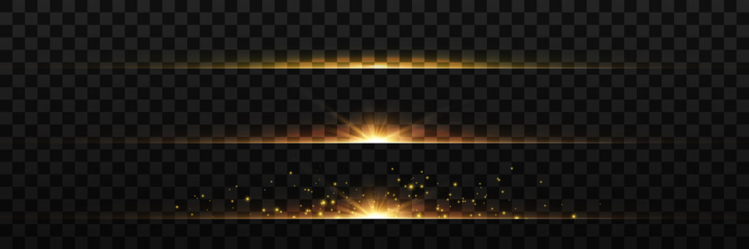 yellow horizontal lens flares pack. Laser beams, horizontal light rays.Beautiful light flares. Glowing streaks on dark background. Luminous abstract sparkling lined background. Vector illustration