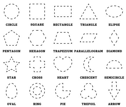 Learn shapes and geometric figures. Preschool or kindergarten worksheet for practicing motor skills. Tracing dashed lines. Vector illustration