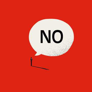 Say no vector concept with man and speech bubble. Symbol of strength, courage and bravery. Minimal illustration
