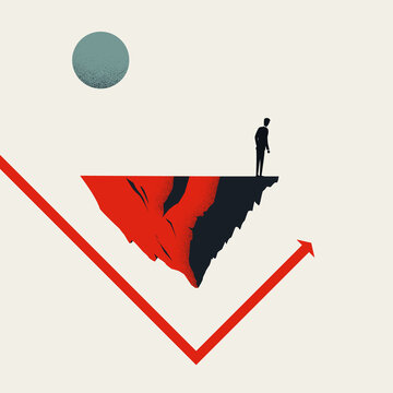 Business rebound and economy recovery vector concept. Symbol of success, growth, rise. Minimal illustration.