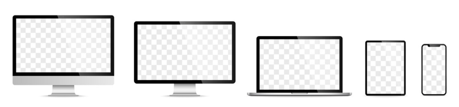 Device screen set - laptop smartphone tablet computer monitor. Vector