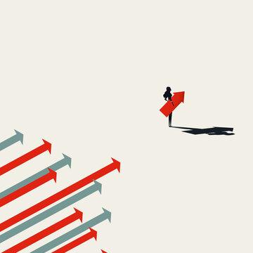 Business woman leader vector concept. Symbol of leadership, strength, power, emancipation. Minimal illustration.