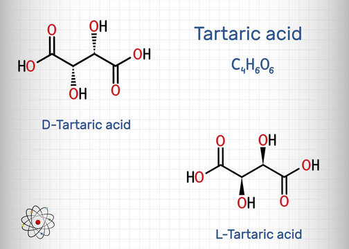 Tartaric acid, D -Tartaric, L-Tartaric, dextrotartaric, levotartaric acid molecule. It is antioxidant E334, occurs in grapes, bananas, tamarinds, citrus. Sheet of paper in a cage