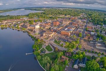 Fototapeta Aerial View of Downtown Albert Lea, Minnesota at Dusk in Summer