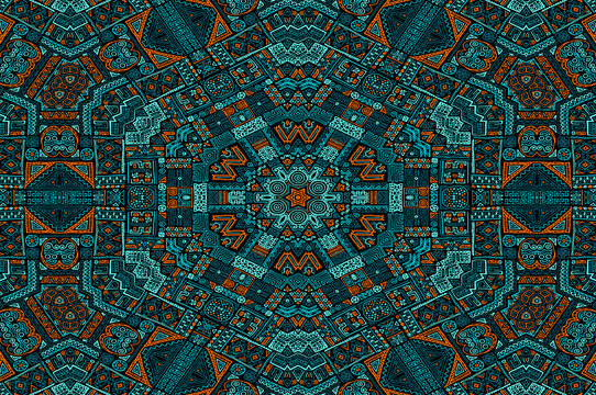 Turquoise orange black african motifs Tanzania geometric seamless pattern vector design.