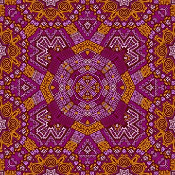 Purple orange african motifs Kenya geometric seamless pattern vector design.