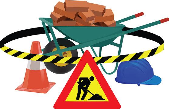 road signs work in progress road signs work in progress wheelbarrow bricks