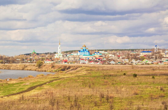 Landscape with a view of the Don River and the ancient city with churches and monasteries Zadonsk