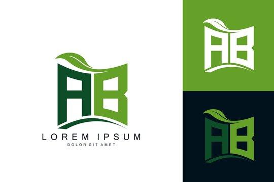 AB logo monogram with green leaf nature organic bio curved shape premium vector design template