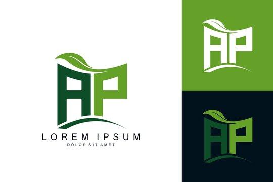 AP logo monogram with green leaf nature organic bio curved shape premium vector design template