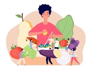 Vegan food concept. Flat groceries elements, fresh retail vegetarian product. Healthy fruit diet, woman cooking vegetables salad utter vector concept