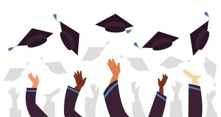 Fototapeta Throwing graduation caps. Cap flying up, student education celebration. University college or school, graduate with academic hats decent vector concept