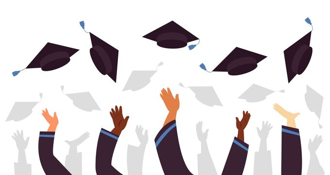 Throwing graduation caps. Cap flying up, student education celebration. University college or school, graduate with academic hats decent vector concept