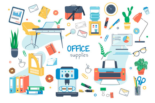 Office supplies concept isolated elements set