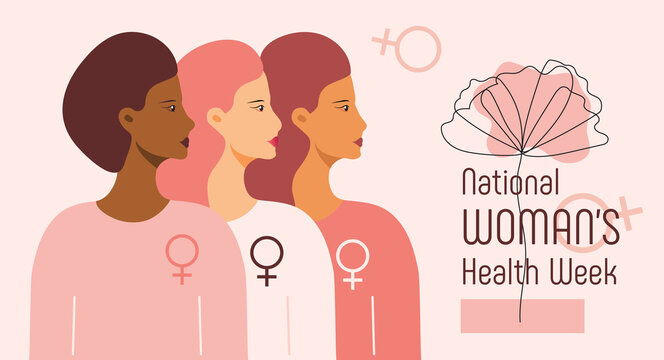 National Women's Health Week concept vector for web, app. Event on Mother's Day to encourage women health in May. Diverse race girls on boho style
