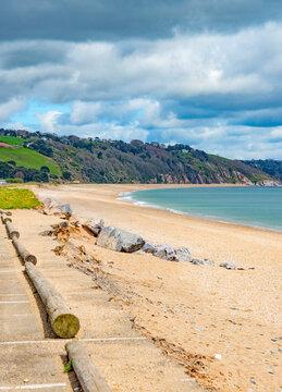 Slapton Sands Beach looking East, near Dartmouth, South Devon, England, UK