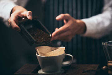 professional barista making coffee at cafes in the morning, hot drink espresso in cup, beverage brew coffeemaker, coffee shop with barista in vintage style
