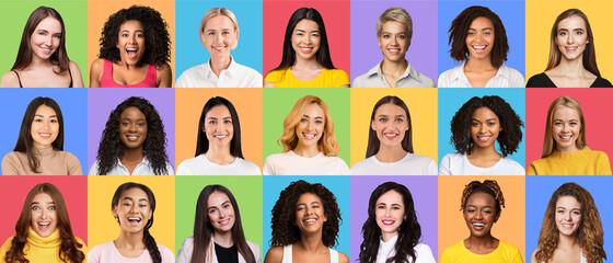 Fototapeta Composite set of optimistic diverse multiracial women