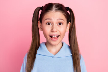 Fototapeta Photo portrait of amazed smiling girl with tails hairstyle staring opened mouth isolated on pastel pink color background