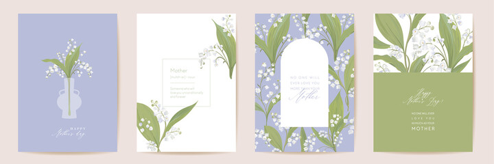 Watercolor Mother day card set. Greeting mom minimal postcard design. Vector white lily flowers template