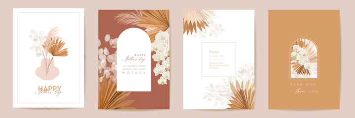 Mother day watercolor card set. Greeting mom minimal postcard design. Vector tropical flowers, palm leaves