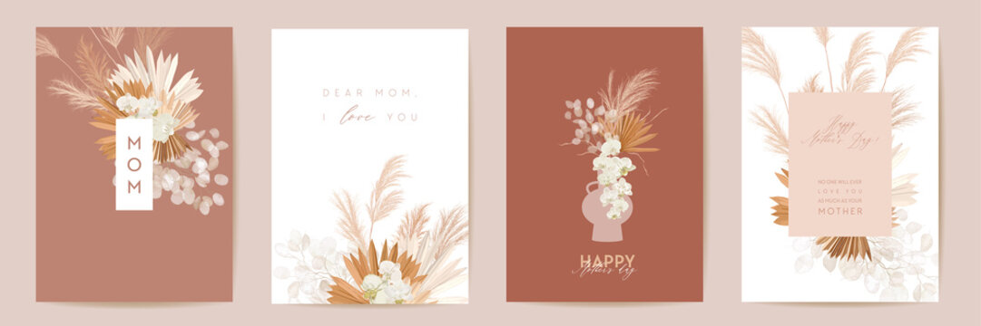 Happy Mothers day watercolor card set. Greeting mom minimal postcard design. Vector tropical flowers