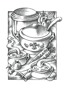 black and white illustration of making soup