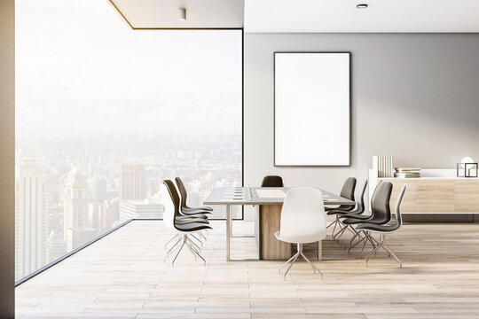 Blank white poster in modern interior designed meeting room with wooden floor, light furniture and city view from transparent wall, 3D rendering, mock up