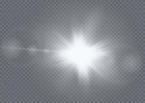 Sunlight translucent special light effect design. Vector blur in radiance light. Isolated sunlight transparent background.