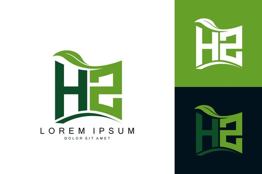 HW logo monogram with green leaf nature organic bio curved shape premium vector design template