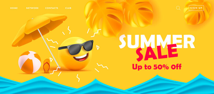 Summer sale poster with 3d smile in sunglasses under sun umbrella with tropical leaves and sea waves