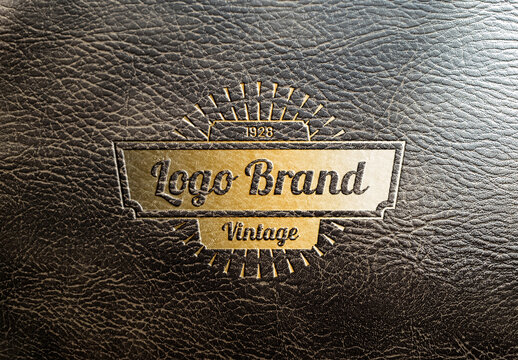 Logo Mockup with Debossed Gold Effect on Leather Texture