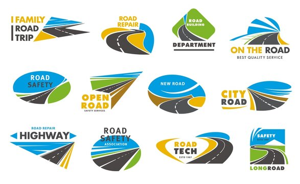 Road safety vector icons, pathway, highway repair. City highway road disappearing into the distance, travel or transportation service isolated emblem design. Driveway symbols, traffic signs, direction