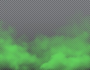 Obraz Green bad smell on transparent background with realistic vector clouds of stink, smoke, odor and stench vapor. Fog, mist, haze, steam and toxic gas evaporation 3d backdrop and border design - fototapety do salonu