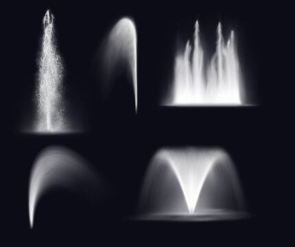 Fountain water jets and splashes, isolated realistic 3d vector waterfall and stream spray. Fountain water jets silhouettes, dancing fountain cascade or geyser and spring eruption