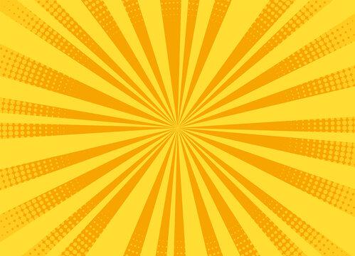 Pop art background. Halftone comic pattern. Cartoon starburst effect. Yellow sunburst banner with dots and rays. Vintage duotone texture. Superhero banner. Gradient wow design. Vector illustration.
